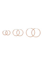3 pairs of hoop earrings - Rose gold - Ladies | H&M 1