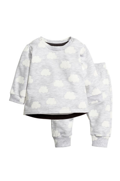 Sweatshirt and trousers - Light grey/Cloud - Kids | H&M CN 1