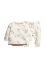 Sweatshirt and trousers - Natural white/Rabbits - Kids | H&M 1