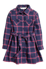 Shirt dress - Dark blue/Checked -  | H&M 1