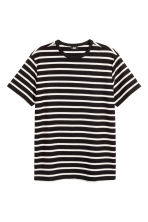 棉質網眼布T恤 - Black/White/Striped - Men | H&M 2