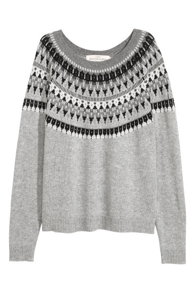 Jacquard-knit jumper - Light grey marl -  | H&M