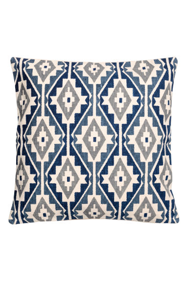 Patterned cushion cover - Dark blue/Natural white - Home All | H&M CN