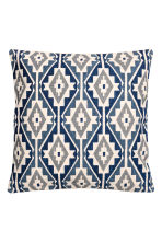 Patterned cushion cover - Dark blue/Natural white - Home All | H&M CN 1