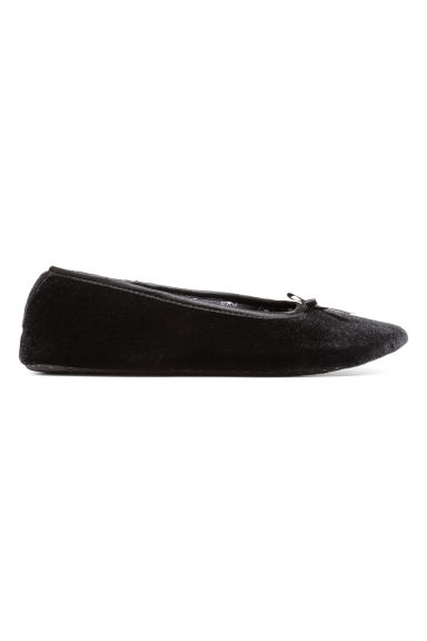 Velvet ballet shoe slippers - Black - Ladies | H&M CN