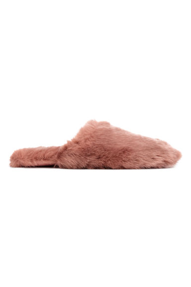 Faux fur slippers - Powder pink -  | H&M IE 1