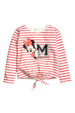 Long-sleeved Tie-hem Top - Red/Minnie Mouse - Kids | H&M CA 2