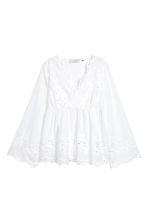 Blouse with broderie anglaise - White - Ladies | H&M 2