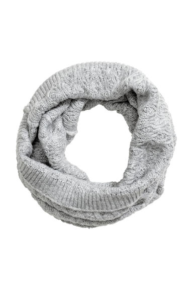 Textured-knit tube scarf - Grey -  | H&M CA 1