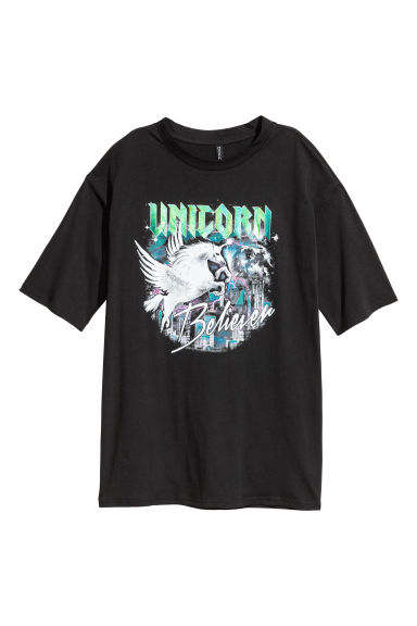 T-shirt with a motif - Black/Unicorn -  | H&M IE