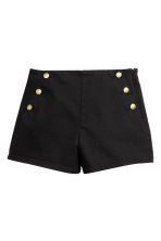 Button-detail shorts - Black - Ladies | H&M 2