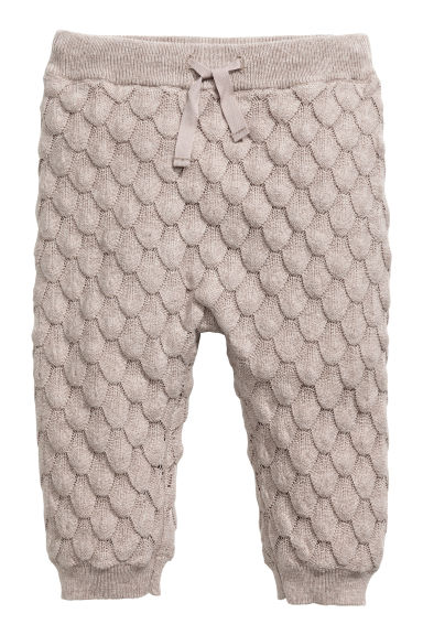 Textured-knit cotton trousers - Light mole - Kids | H&M CN 1