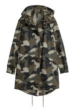 Patterned cotton parka - Khaki green -  | H&M 2