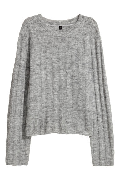 Ribbed jumper - Light grey marl -  | H&M