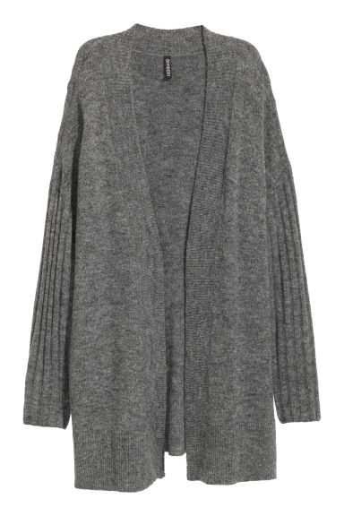 Fine-knit cardigan - Dark grey marl -  | H&M
