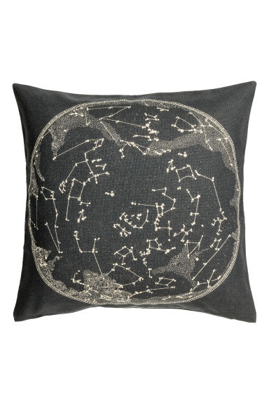 Cushion cover with a motif - Anthracite grey/White - Home All | H&M CN 1