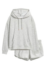 Pyjamas with a top and shorts - Grey/Velour - Ladies | H&M 2