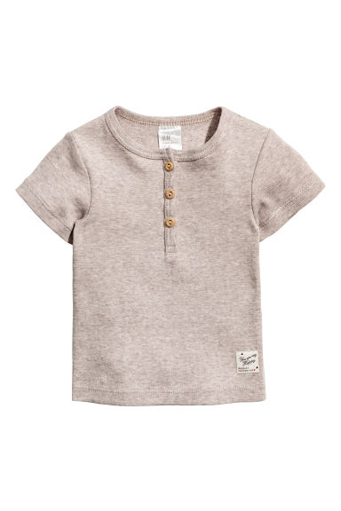 Short-sleeved Henley shirt - Light mole -  | H&M GB