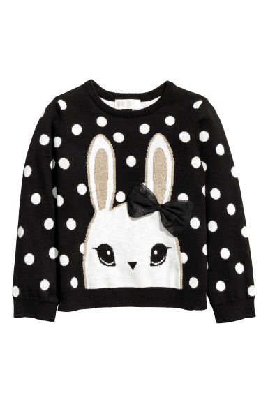 Jacquard-knit jumper - Black/Rabbit -  | H&M CN