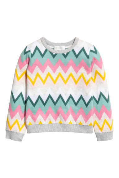 Jacquard-knit jumper - Grey/Multicoloured - Kids | H&M CN