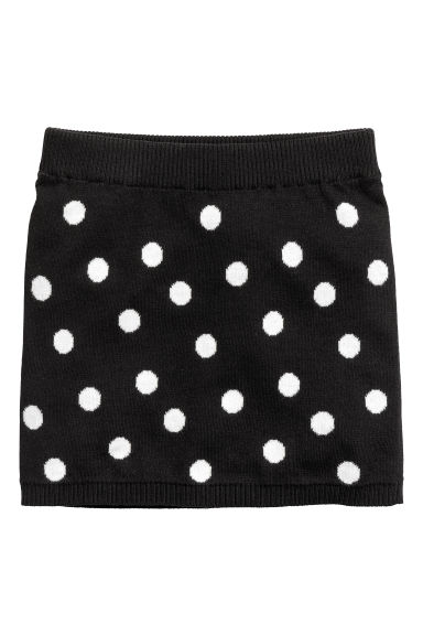 Jacquard-knit skirt - Black/Spotted - Kids | H&M IE