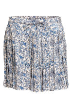 Pleated skirt - Light beige/Floral - Ladies | H&M CN 2