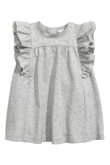 Premium cotton dress - Grey marl - Kids | H&M 1