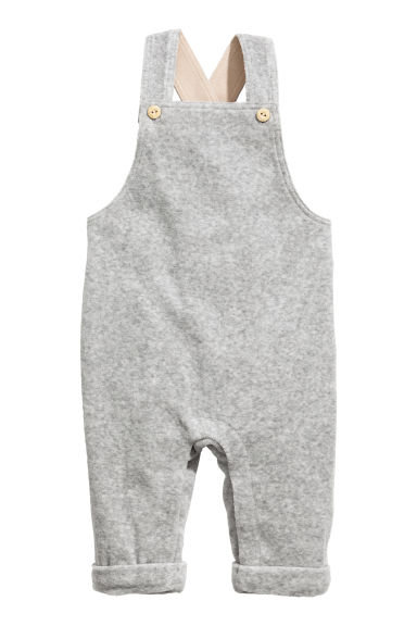 Cotton velour dungarees - Grey - Kids | H&M 1