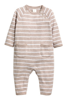 Fine-knit cotton romper suit