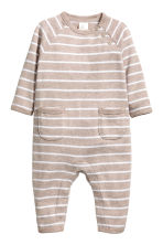 Fine-knit cotton romper suit - Mole -  | H&M 1
