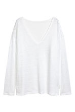 Linen V-neck top - White - Ladies | H&M 2