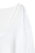 Linen V-neck top - White - Ladies | H&M 3