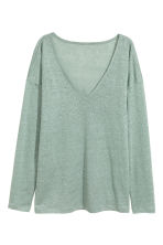 Linen V-neck top - Dusky green - Ladies | H&M CN 2