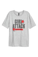 Printed T-shirt - Light grey - Ladies | H&M 2