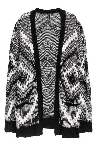 Jacquard-knit cardigan - Black/White - Ladies | H&M CN
