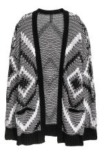 Jacquard-knit cardigan - Black/White - Ladies | H&M IE 2
