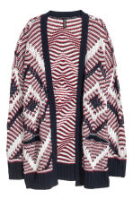 Jacquard-knit cardigan - Red/Dark blue - Ladies | H&M IE 2