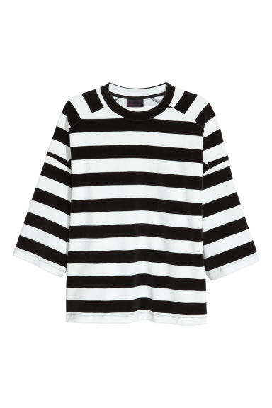 Oversized T-shirt - Black/White striped -  | H&M CN