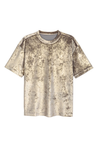 Velour T-shirt - Silver-coloured/Gold-coloured - Men | H&M GB