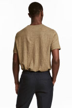 Linen T-shirt - Dark beige - Men | H&M 4