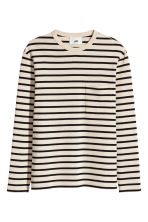 Striped cotton top - Light beige/Black - Men | H&M CN 2