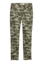 Patterned Slim-fit Pants - Khaki green/patterned - Ladies | H&M CA 2