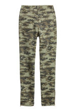 Patterned Slim-fit Pants - Khaki green/patterned - Ladies | H&M CA 3