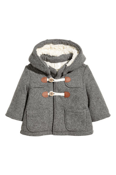 Pile-lined duffle coat - Grey - Kids | H&M 1