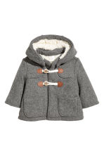 Pile-lined duffle coat - Grey -  | H&M 1