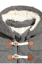 Pile-lined duffle coat - Grey -  | H&M 3