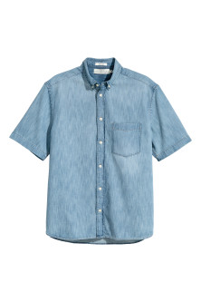 Short-sleeved denim shirt