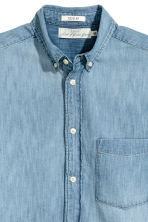 Denim hemd met korte mouwen - Licht denimblauw - HEREN | H&M BE 3