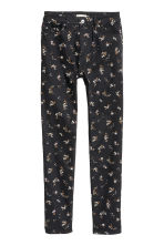 Stretch trousers High waist - Black/Floral - Ladies | H&M 2