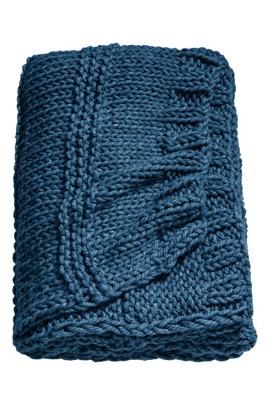 Textured-knit blanket - Turquoise -  | H&M GB
